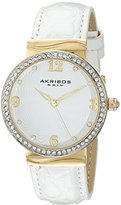 Akribos XXIV Women's AK829WTG Quartz Movement Watch with White Dial Featuring a Crystal Filled Bezel and Leather Strap