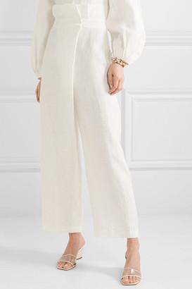 Mara Hoffman Net Sustain Nikko Wrap-effect High-rise Wide-leg Pants - White