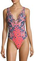 Red Carter Women's Plunge One Piece Swimsuit