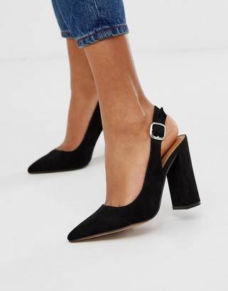ASOS DESIGN Penley slingback high heels in black