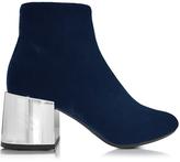 MM6 Maison Martin Margiela Navy Blue Velvet Boot w/Mirror Heel