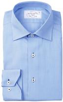 Lorenzo Uomo Long Sleeve Trim Fit No Wrinkle Houndstooth Dress Shirt