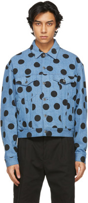 Moschino Blue Denim Polka Dot Jacket