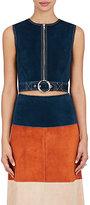 Derek Lam Women's Leather Crop Vest-Navy