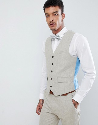 Harry Brown Wedding donegal slim fit suit waistcoat-Tan