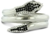 SuperJeweler Sexy, Slithering Triple Snake Cuff Bangle, With Fiery White and Black Rhinest...