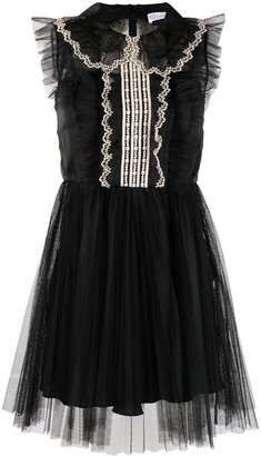 RED Valentino Embroidered Ruffled Dress