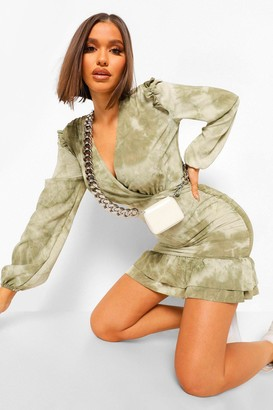 boohoo Tonal Tie Dye Ruched Wrap Front Dress
