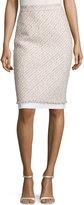 Oscar de la Renta Tinsel Tweed Pencil Skirt, Pink/Gray