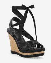White House Black Market Lace-Up Canvas Wedges