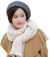 Solid Color Knitted Ladies Scarf Shawl Thick Long Section