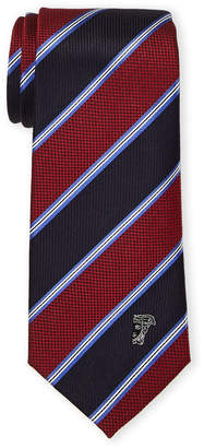 Versace Red Silk Pinstripe Check Tie