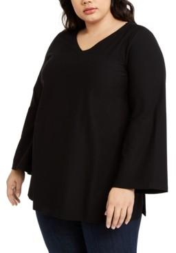 Eileen Fisher Plus Size V-Neck Side-Slit Tunic