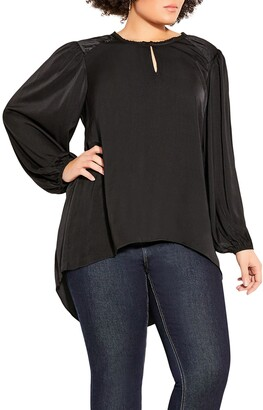 City Chic Sense Puff Sleeve High/Low Top