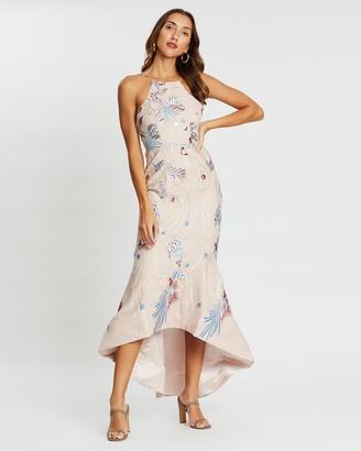 Bariano Bella High Neck Trumpet Dress