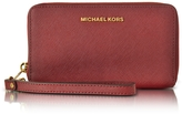 Michael Kors Jet Set Travel Large Flat MF Cherry Saffiano Leather Phone Case/Wallet