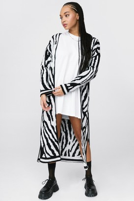 Nasty Gal Womens Let's Slit Up Zebra Longline Cardigan - Black - M