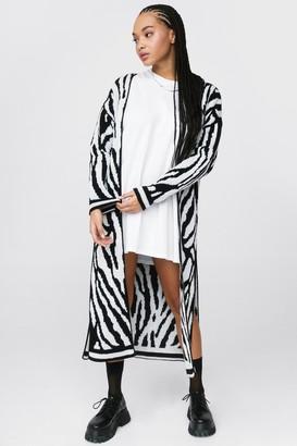 Nasty Gal Womens Let's Slit Up Zebra Longline Cardigan - Black - S