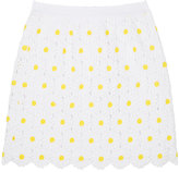 Dolce & Gabbana EMBROIDERED-DAISY COTTON-BLEND SKIRT