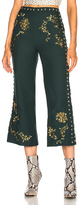Rodarte Floral Metallic Embroidery & Studded Detail Pants in Green,Metallics.
