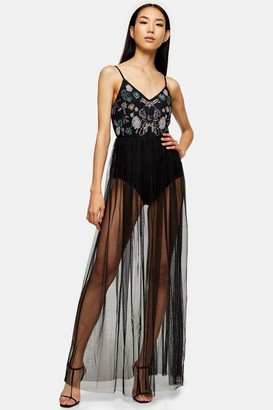 Lace & Beads Womens **Embelished Long Maxi Dress By Black