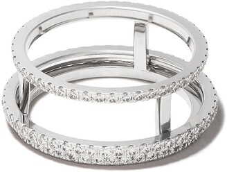 De Beers 18kt white gold The Horizon full pave diamond ring