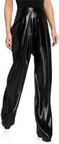 Cushnie Metallic Chiffon Wide-Leg Pants