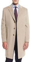 Neiman Marcus Cashmere Three-Button Long Coat, Oatmeal