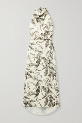 Johanna Ortiz Rewarding Journey Floral-print Satin Halterneck Midi Dress - Ecru