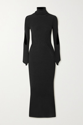 Thierry Mugler Cutout Ribbed-knit Turtleneck Maxi Dress - Black