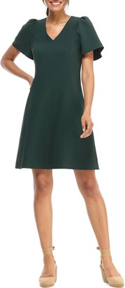 Gal Meets Glam Sutton Box Weave Crepe Fit & Flare Dress