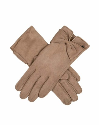 Dents Women's Touchsreen Faux Suede Gloves with Bow BLACK ONE