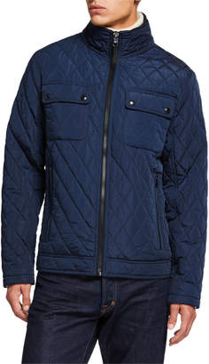 Iconic American Designer Men's Quilted Zip-Front Jacket