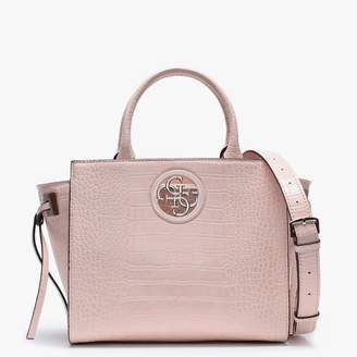 GUESS Open Road Pink Moc Croc Satchel Bag