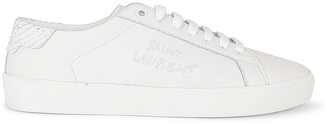 Saint Laurent Court Classic Signature Sneakers in Blanc Optique | FWRD