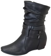 De Blossom Collection Amar-74 Women's Calf Flat Heel Side Zipper Slouch Ankle Boots with Glam Twist Black