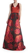 Theia Sleeveless Combo Floral-Skirt Ball Gown