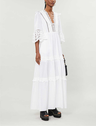 Self-Portrait Viole lace-trim cotton-poplin maxi dress