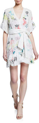 Tanya Taylor Brandy Floral Embroidered Wrap Dress