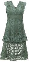 Sea Laurel Ruffle-trimmed Crochet Midi Dress - Womens - Khaki