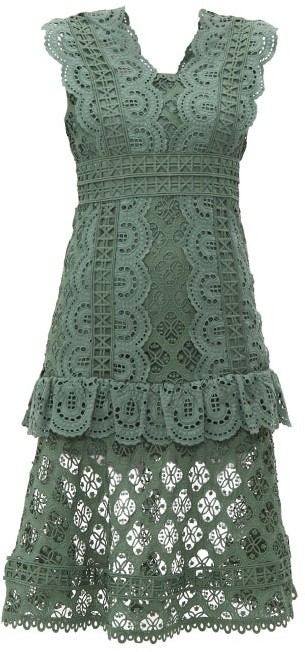 Sea Laurel Ruffle-trimmed Crochet Midi Dress - Womens - Khaki