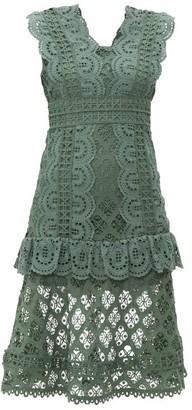 Sea Laurel Ruffle-trimmed Crochet Midi Dress - Khaki
