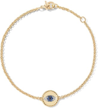 David Yurman 18kt yellow gold Cable Collectibles diamond and sapphire evil eye charm bracelet