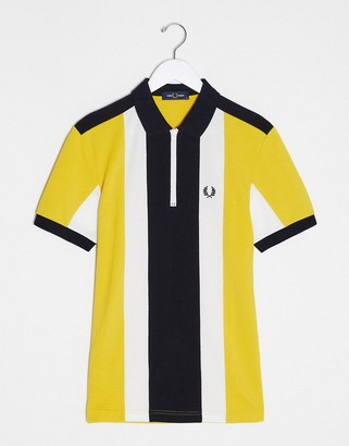 Fred Perry bold stripe half zip polo in yellow with black