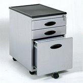 Studio RTA Mobile 3 Drawer Metal Mobile Vertical File Cabinet in Silver and Black