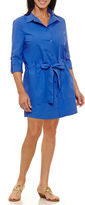 Sag Harbor Elbow Sleeve Shirt Dress