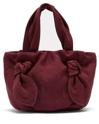 STAUD Ronnie Knot-handle Canvas Bag - Womens - Burgundy