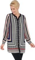 Susan Graver Printed Woven Button-Front Tunic Shirt