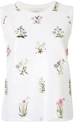 Giambattista Valli Sequinned Floral-Embroidered Top