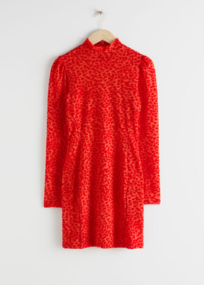 And other stories Fitted Puff Sleeve Leopard Mini Dress
